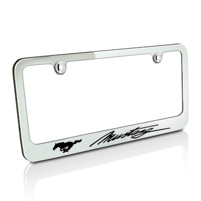 Ford Mustang Script Chrome Metal License Plate (Ford License Plate Frame)