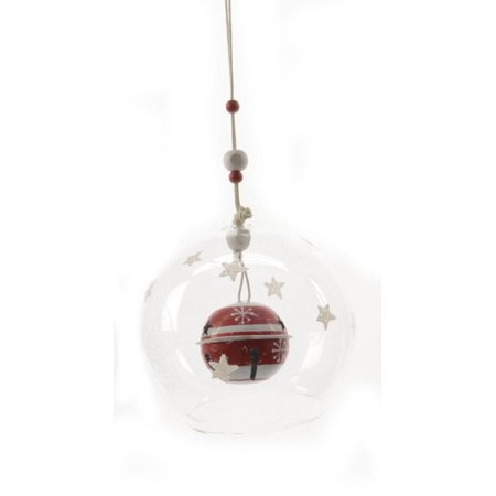 - Alpine Chic Red and White Striped Jingle Bell in Glass Christmas Ball Ornament 3.5