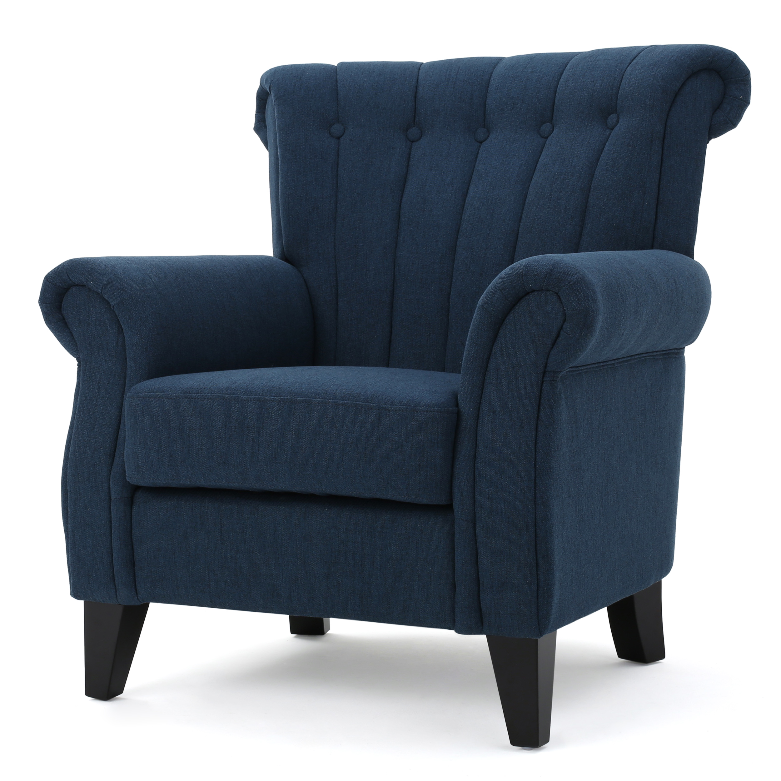 Romee Channel Fabric Club Chair, Dark Blue by GDF Studio