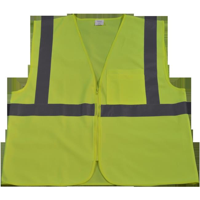 LV2-CB0-L-XL Safety Vest ANSI Class 2 Lime Solid Zipper Closure1 Chest Pocket, Large & Extra Large