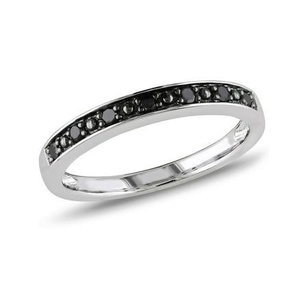 Black Diamond Wedding Band 1/10 Carat (ctw) in Sterling Silver with Black Rhodium