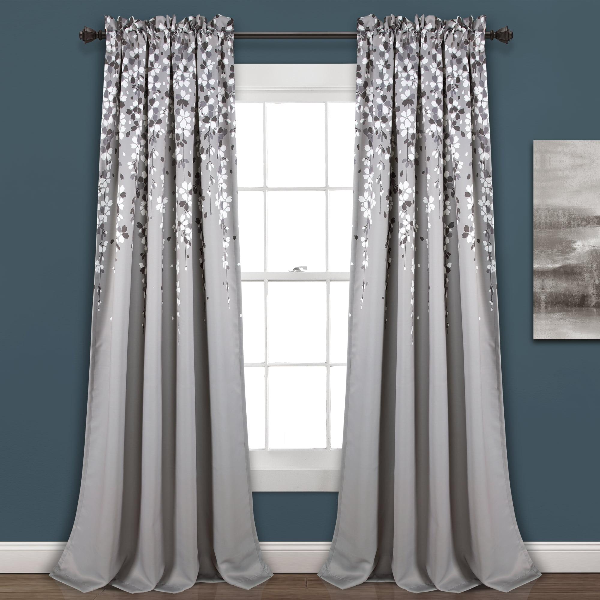 Weeping Flower Room Darkening Window Curtain Panels Gray