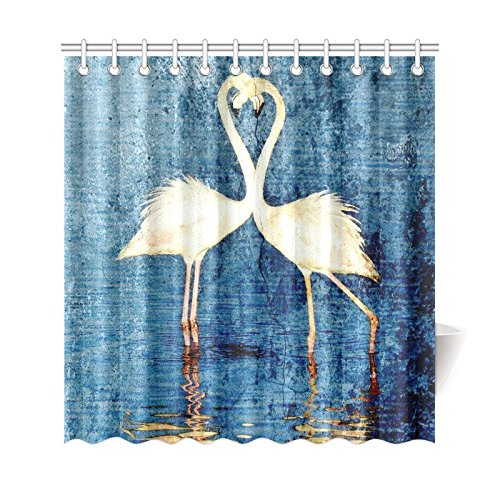 GCKG Vintage White Flamingos Shower Curtain, Blue Lake Polyester Fabric Shower Curtain Bathroom Sets with Hooks 66x72 Inches - image 3 de 3