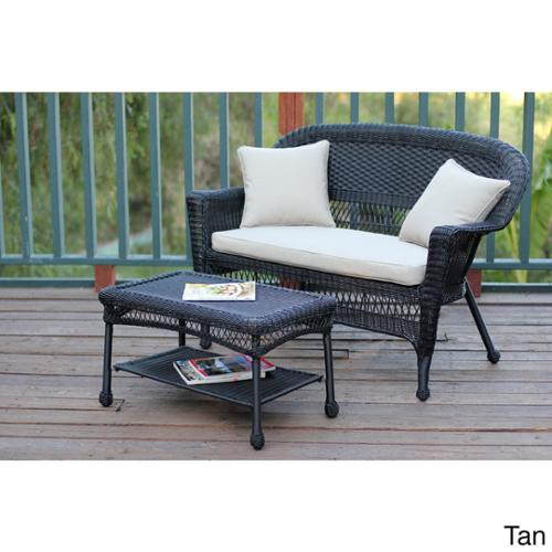 Black Wicker Loveseat and Coffee Table Set Tan