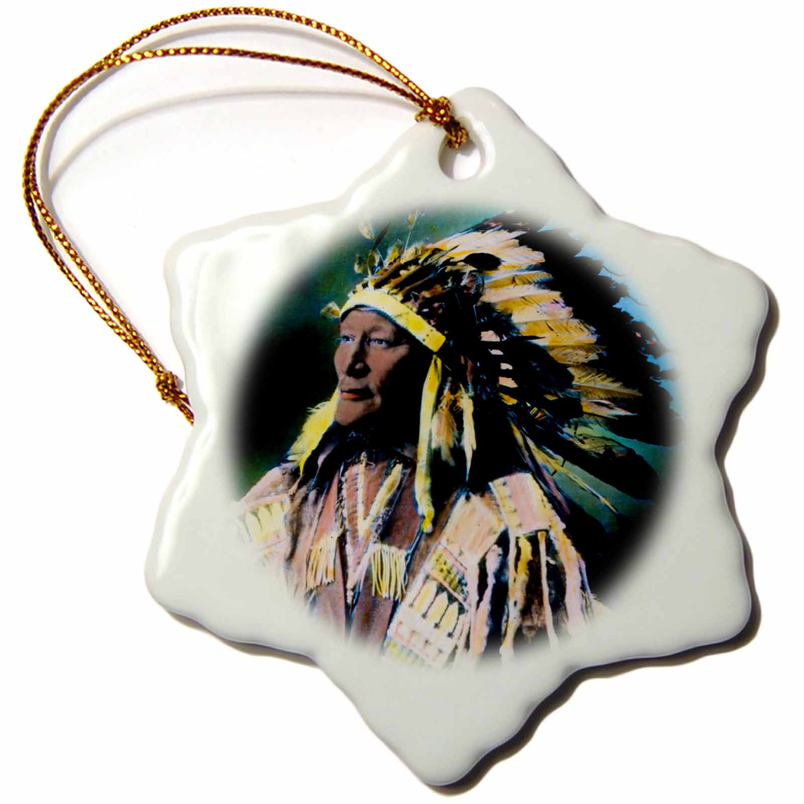 3dRose Vintage Magic Lantern Native American Sioux Chief Hand Colored - Snowflake Ornament, 3-inch