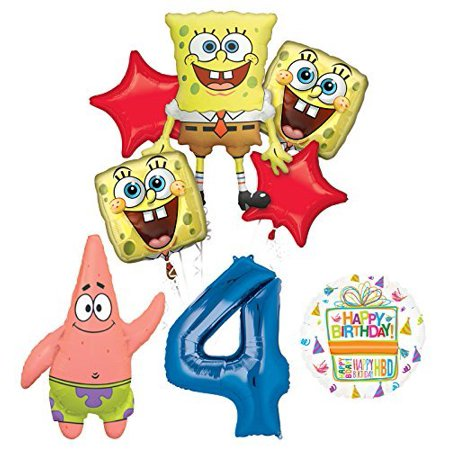 Spongebob Squarepants 4th Birthday Party Supplies and Balloon Bouquet Decorations](Spongebob Decorations)