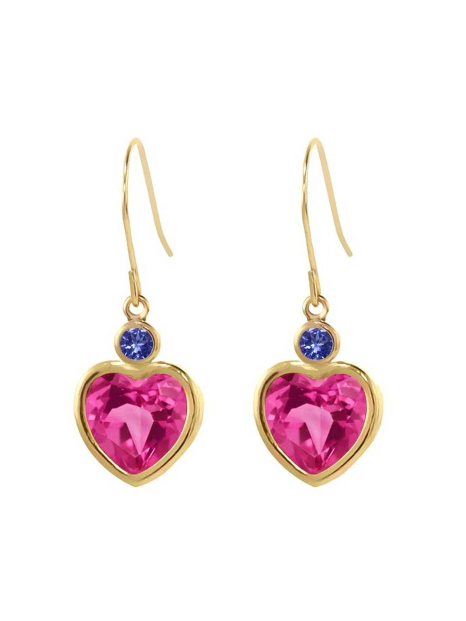 5.10 Ct Pink Created Sapphire Blue Tanzanite 14K Yellow Gold Earrings by