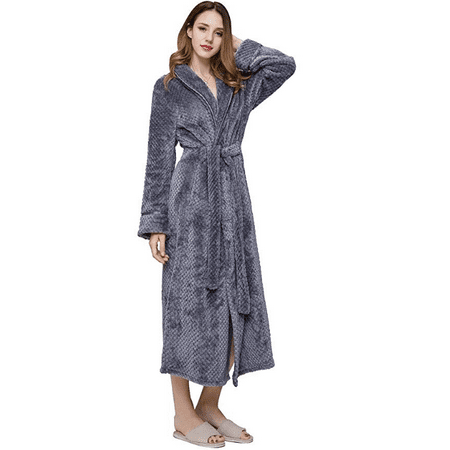 AMONIDA Fleece Bathrobe for Women Long Robes Soft Pajamas  c77670d4d