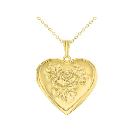 Gold Tone Heart Rose Flower Photo Locket Love Pendant Necklace -