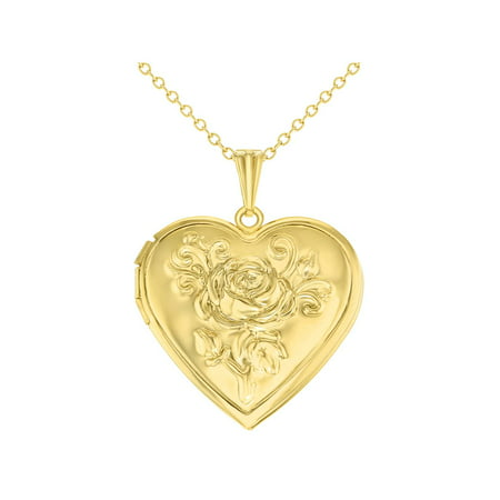 Roses Locket Necklace - Gold Tone Heart Rose Flower Photo Locket Love Pendant Necklace 19