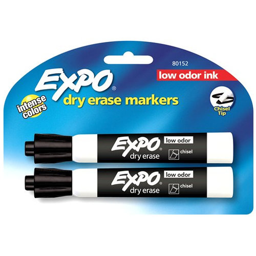 Expo Low Odor Chisel Tip Dry Erase Markers 2pk, Black Ink