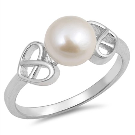 Pearl Celtic Knot (Freshwater Simulated Pearl Heart Celtic Knot Ring New .925 Sterling Silver Band Size)