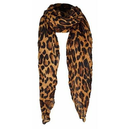Trendy Women's Leopard Animal Print Crinkle Scarf wrap