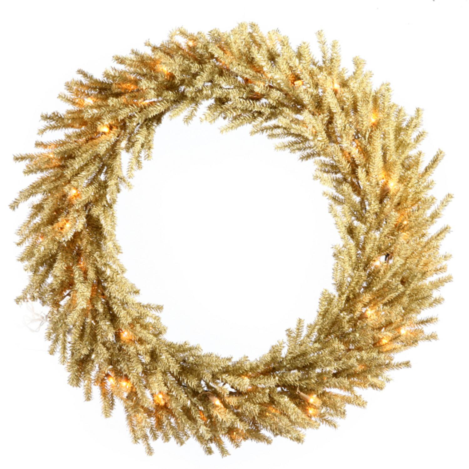 """30"""" Pre-Lit Sparkling Champagne Artificial Christmas Wreath - Clear Lights"""