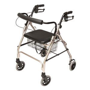 "Lumex Walkabout Lite Four-Wheel Rollator, Champagne, 6"" Wheel"