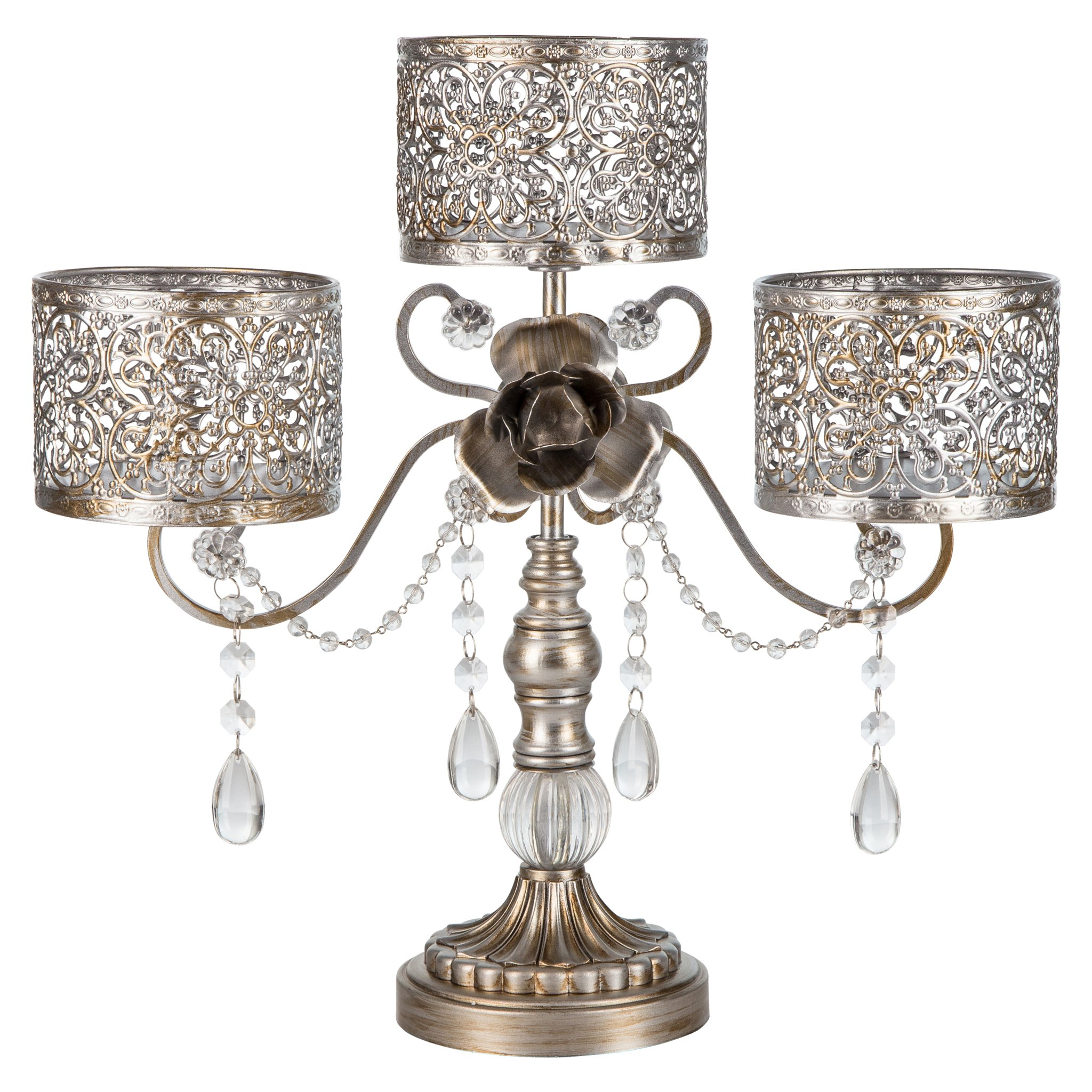 Amalfi Decor Antique 3 Pillar Crystal-Draped Hurricane Candle Holder Centerpiece (Gold) | H | Stainless Steel Frame with... by