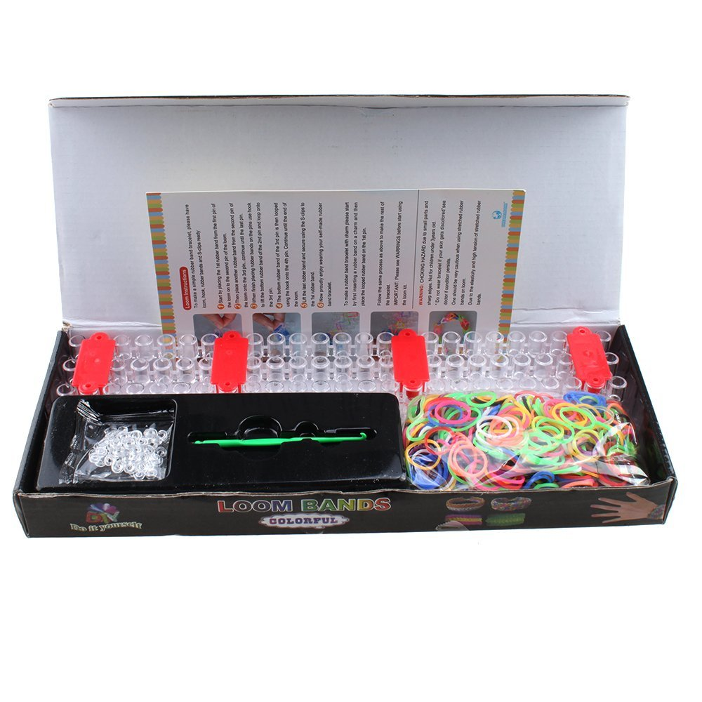 "AGPtek DIY Loom Band Refill Set from Rainbow Braid - 600PCS Bands & 25 ""S"" Clips Kit Rainbow Bracelets Latex-free"