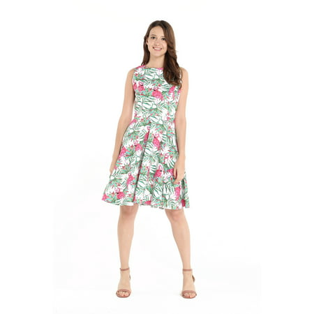 Hawaii Hangover Women's Vintage Fit and Flare Dress 2XL Flamingo in