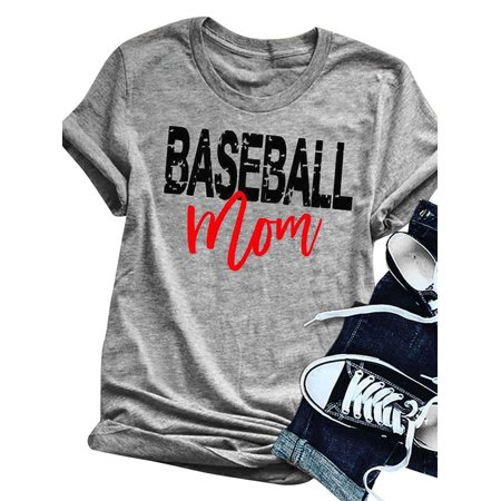 Baseball Mom Shirt (USA 711ONLINESTORE LLC Women's BASEBALL MOM Letter Print T)