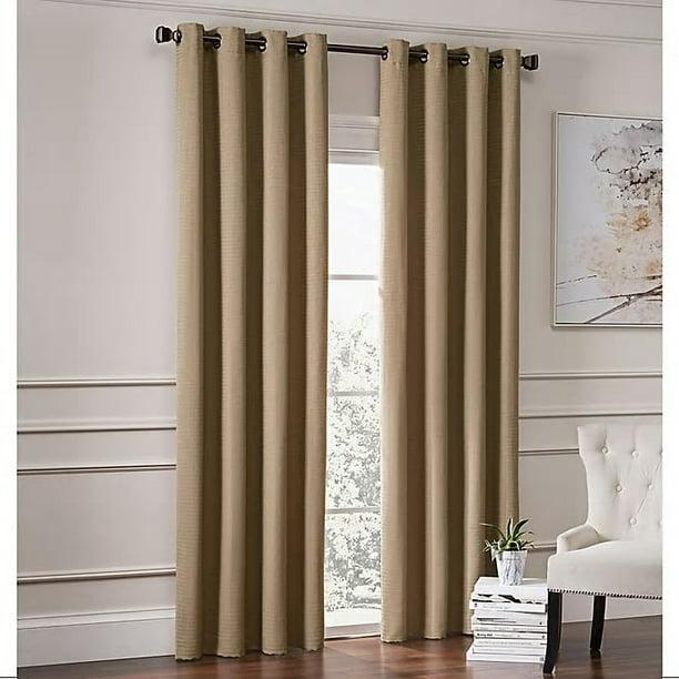 garland 108 inch lined grommet top room darkening window curtain panel in mocha