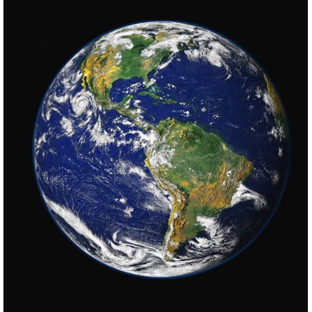 Full Earth Showing The Western Hemisphere Canvas Art   Stocktrek Images  27 X 28
