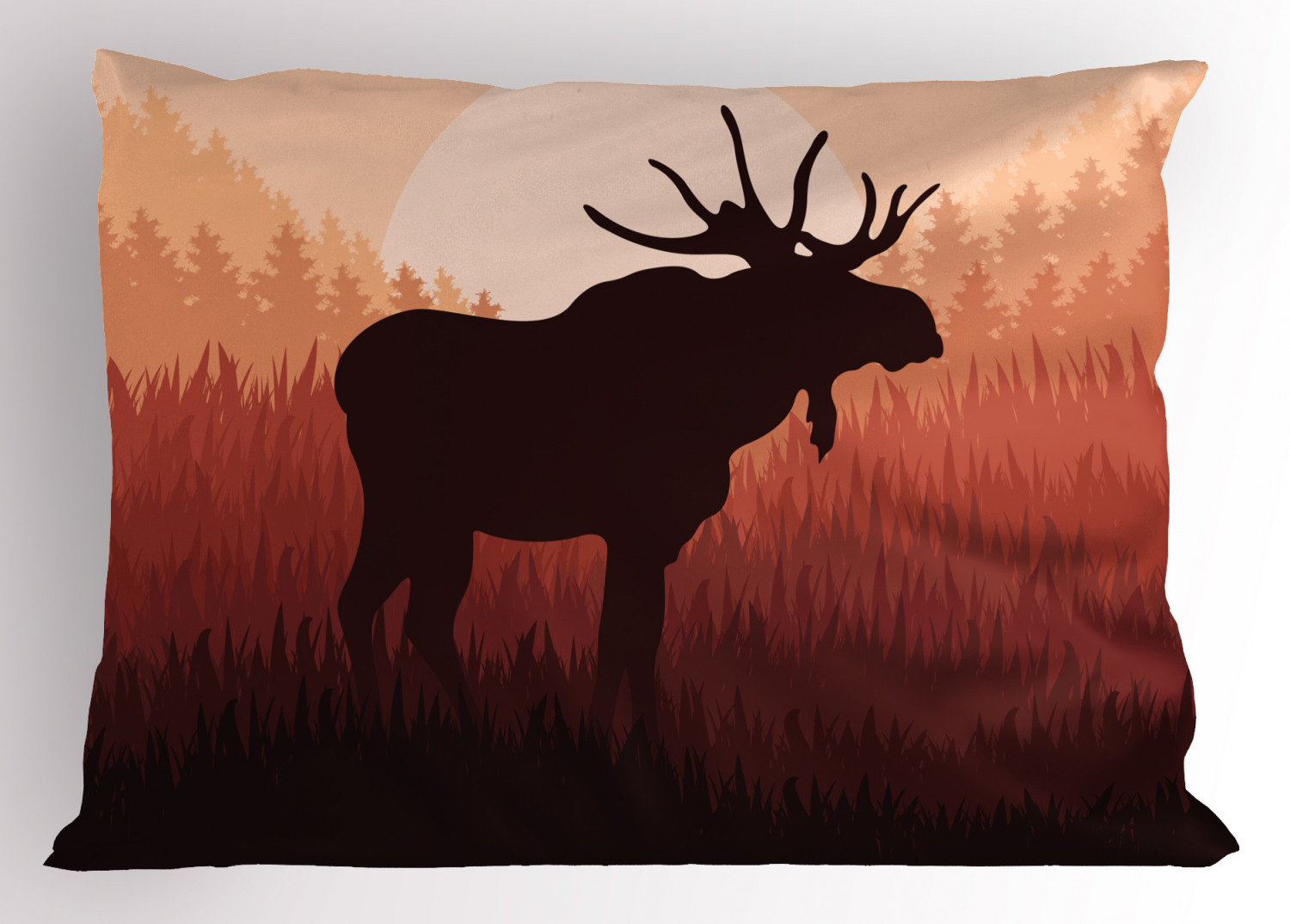 Moose Pillow Sham Antlers In Wild Alaska Forest Rusty