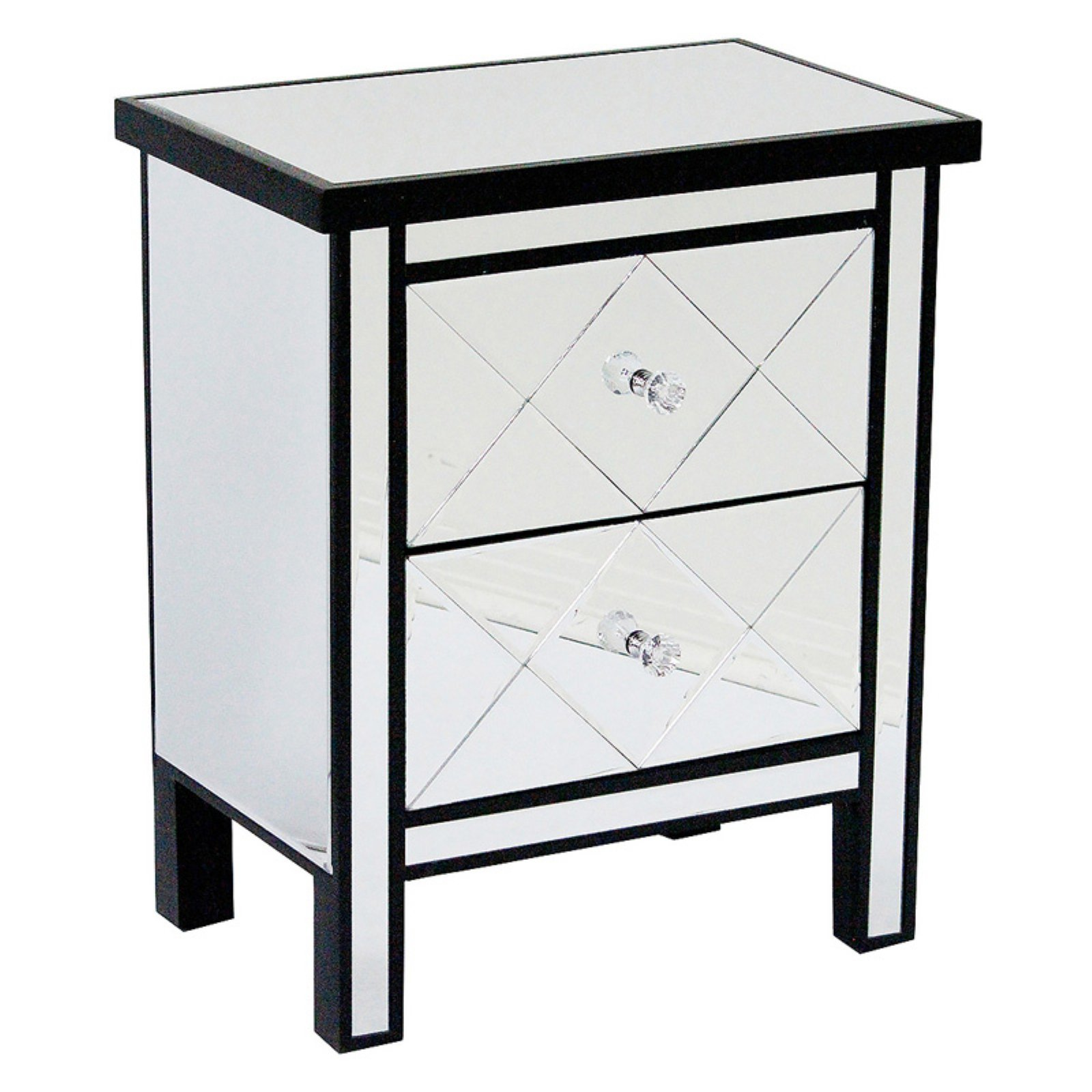 Heather Ann Creations Emmy 2 Drawer Mirrored Tall Accent Cabinet