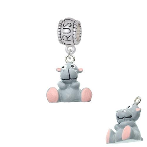 Resin Grey Hippopotamus Honey - Trust In God Charm Bead