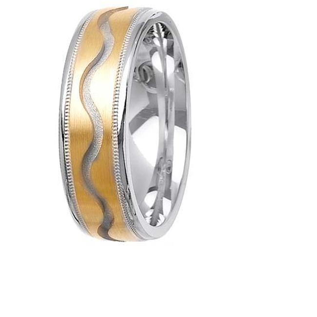 L. A.  Wedding 14KLAW1031-S6. 5 7mm 14K Two Tone Wedding Ring - Size 6. 5