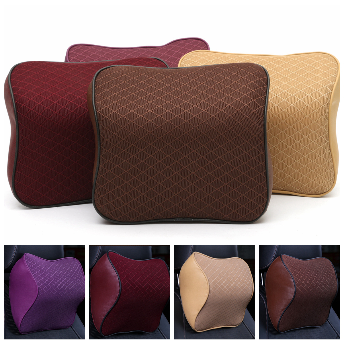 Durable Car Seat Headrest Pillow Breathable Mesh PU Leather Pad Memory Foam Neck Cushion (Color: Beige, Wine red, Coffee, Purple)25x23x12cm/ 9.84x9.05x4.72''
