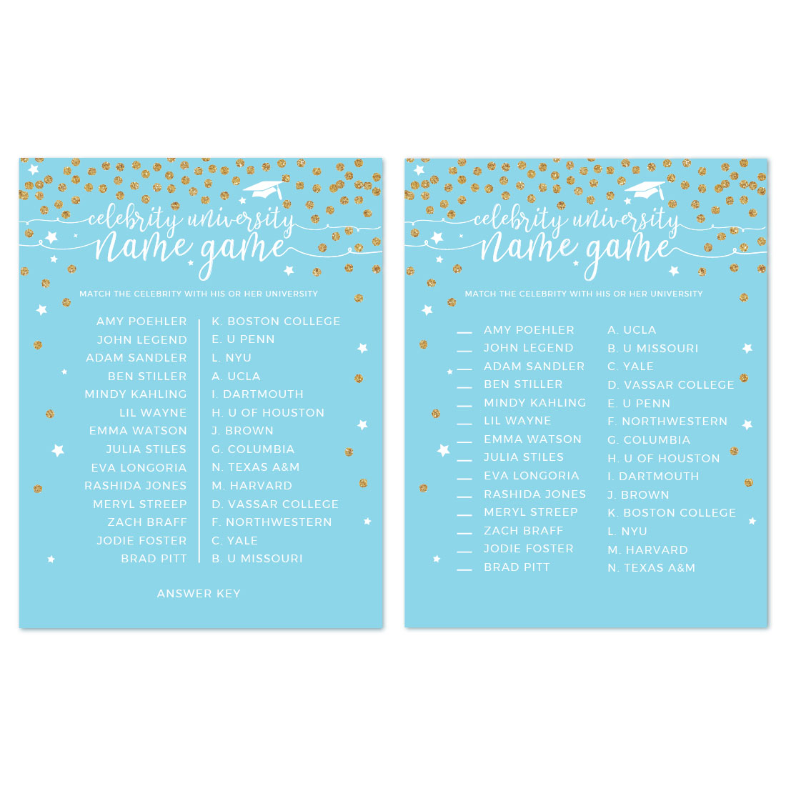 Baby Blue and Gold Glittering Graduation Party, Celebrity Name Game Cards, 20-Pack, Games