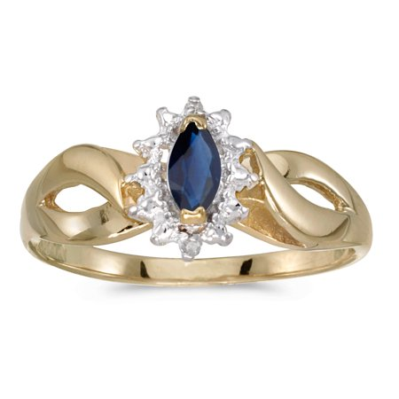 10k Yellow Gold Marquise Sapphire And Diamond Ring 10k Yellow Gold Sapphire Ring