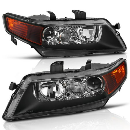 Projector Headlight Assembly for 2004 2005 Acura TSX with Turn Signal Corner Light, Black Housing Clear Reflector (2005 Sequoia Headlight Assembly)
