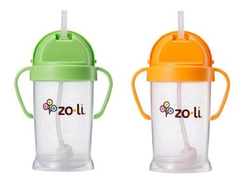 Zoli Baby Bot XL Straw Sippy Cup 9 oz 2 Pack, Green Orange by ZoLi