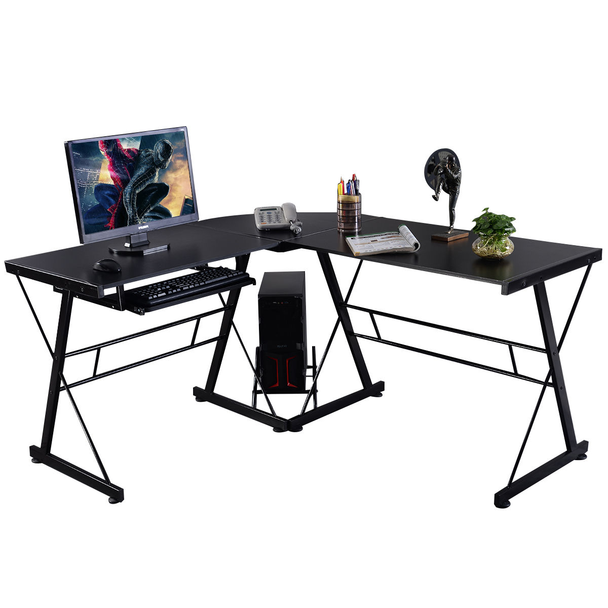 Costway L-Shape Computer Desk PC Wood Laptop Table Workstation Corner Home Office Black