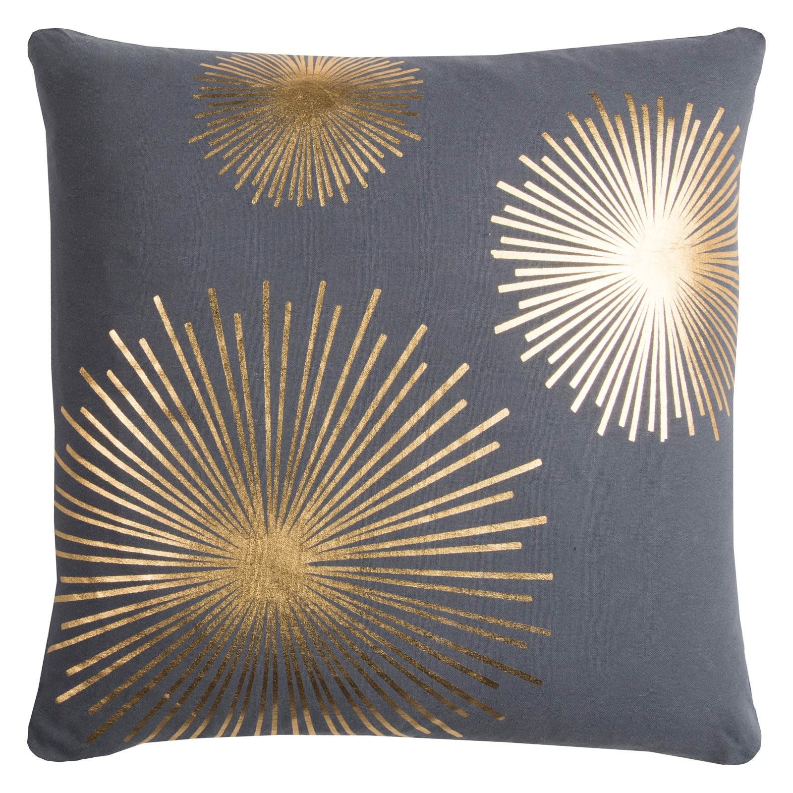 "Rachel Kate by Rizzy Home Star Burst Cotton Decorative Throw Pillow, 20"" x 20"", Grey/Gold"