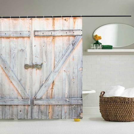 12 Hooks Waterproof Wood Door Printing Shower Curtain 3D Bathroom Free 70x70''  - image 3 de 6