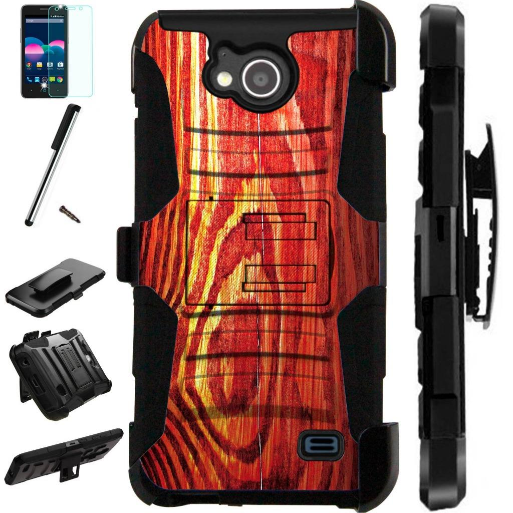 For ZTE Majesty Pro Plus LTE / ZTE Majesty Pro LTE / ZTE Tempo N9131 Case Armor Hybrid Silicone Cover Stand LuxGuard Holster Combo Pack (Wood Print)