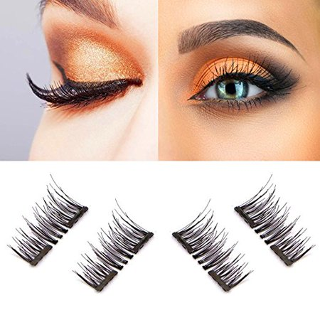 Magnetic eyelashes, Oak Leaf New Dual Magnetic False Eyelashes - 1 Pairs (4 Pieces) Ultra Thin 3D Fiber Reusable Best Fake Lashes Extension for Natural, Perfect for Deep Set Eyes & Round Eyes - Feather Fake Eyelashes