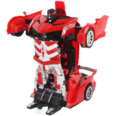 RC 1:14 Scale Transforming Action Combat Robot Supercar Battery Operated Remote Control Vehicle with Working Headlights, Sounds