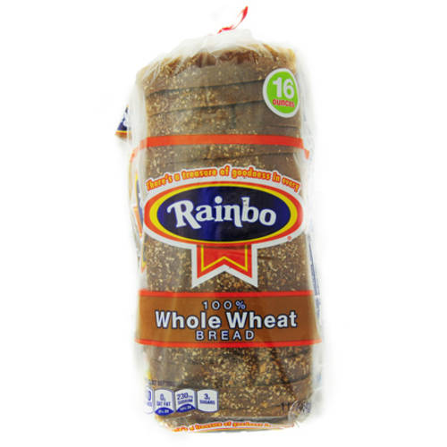 Rainbo 100% Whole Wheat Bread, 16oz.