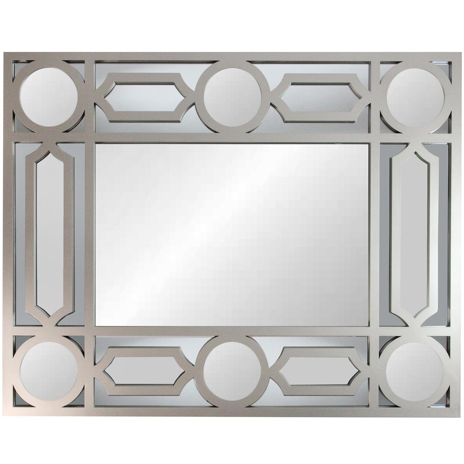 "29.5"" Geometric Openwork Matte Pewter Gray Decorative Rectangular Wall Mirror"