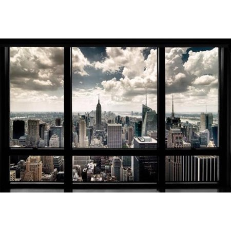 New York City Skyline Faux Window Empire State Building Photo Poster 36x24 (New York Skyline Photo)