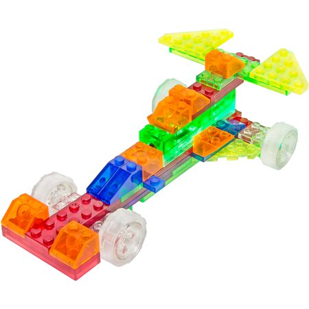 4-in-1 Sprint Car Toy. This kit offers nothing but endless building possibilities. Create the ultimate lightning blitz with the gutsy little sprint car or dominate the dirt tracks with the modified mud racer. The same pieces can also be used to build the super sleek Formula 4 mini racer or the experimental test car. Alternatively, you can stretch your creativity and make up your own design for the game-changing super car of the future. The Laser Pegs toy comes with an included MPS power base and two laser pegs, raising the excitement and fun. It also comes with up to 49 construction bricks. Enjoy a creative experience and a heart pounding racing adventure all in one with this Laser Pegs MPS 4-in-1 Sprint Car Toy kit. Turn out the lights and start your engines,