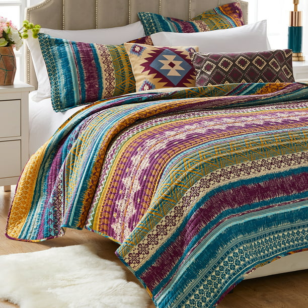 Global Trends Santa Fe Quilt Bonus Set With Decorative Pillows 5 Piece Full Queen Walmart Com Walmart Com