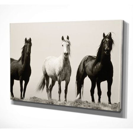 Union Rustic Wild Stallions Oil Painting Print On Wrapped Canvas