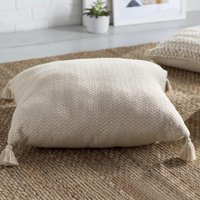 LR Home Beige Chevron Tassel Square Hand-Crafted Reversible Herringbone Floor Pillow, 30'' x 30''