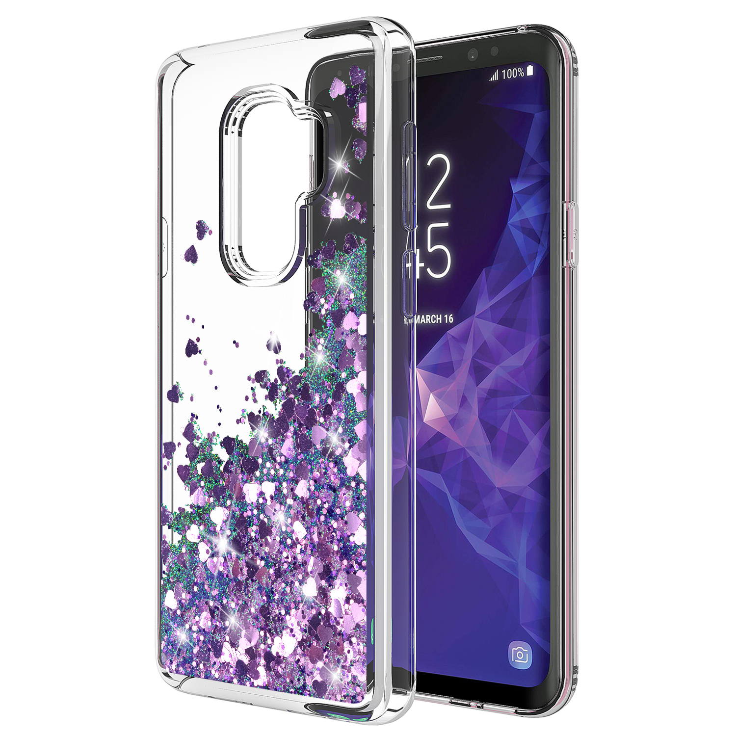 GALAXY S9 PLUS CASE, S9 PLUS CASE, Cute Sparkly Shiny Glitter Bling Luxury Fashion Liquid Quicksand for Teen Girls Women Soft Clear TPU Bumper Cover For SAMSUNG GALAXY S9 PLUS (PURPLE)