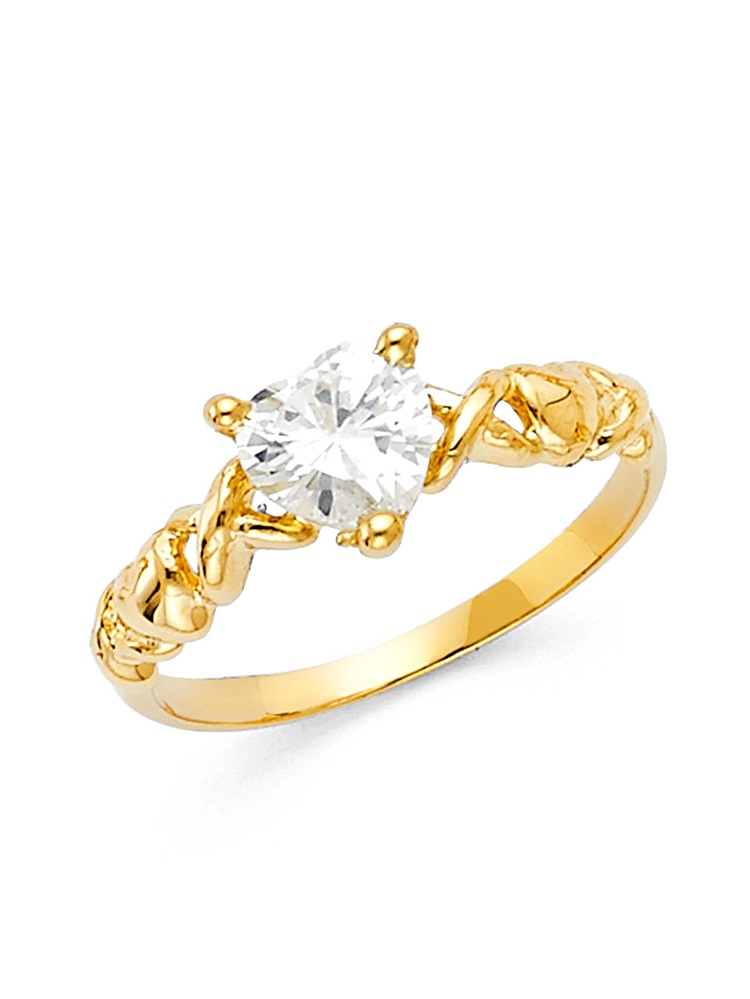 Gemapex Infinity Heart Ring Cz Solid 14k Yellow Gold
