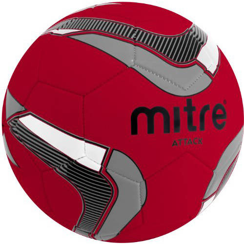 Mitre Attack Soccer Ball Deflate, Red/Black/Silver